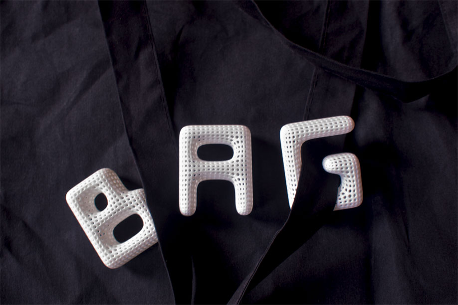 Bag, spelled with the Cloudswimmers Alphabet