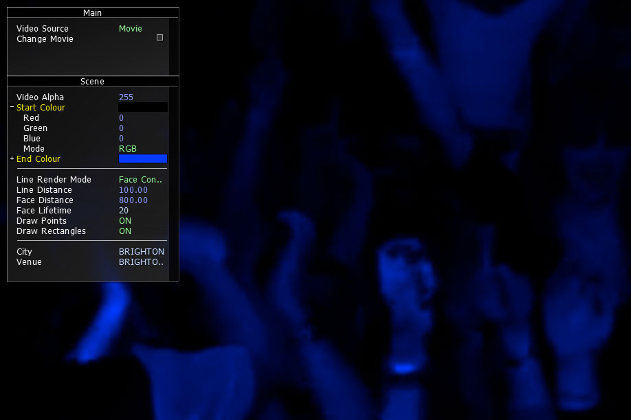 Interface for the Kasabian Visuals application.