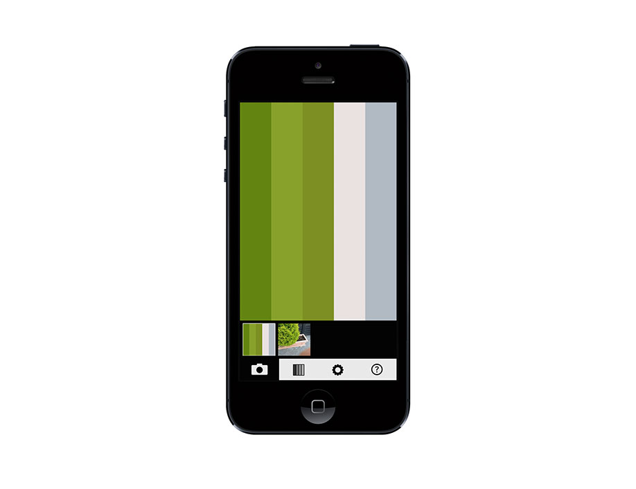 The live view of the swatcher app. Point your phone to anything to generate a color palette.