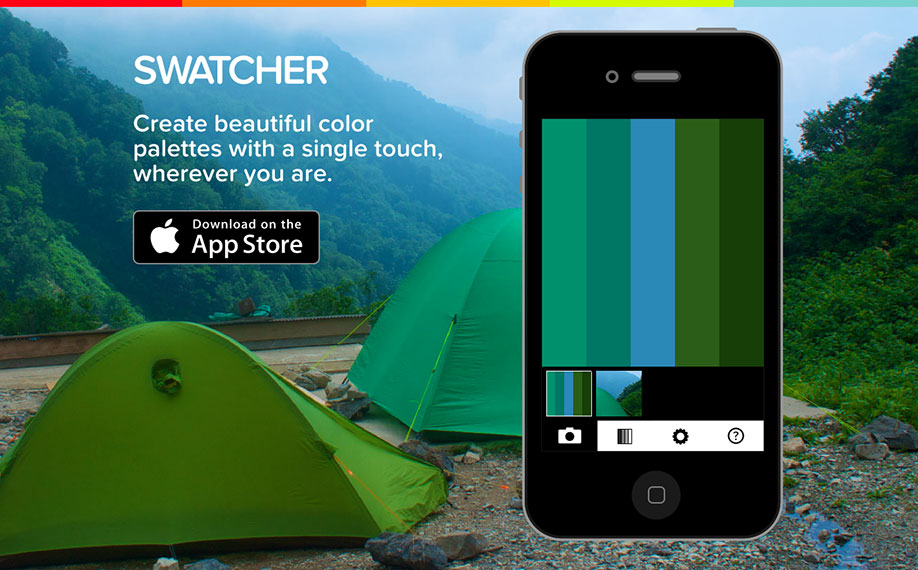 The Swatcher website with an interactive web-based version of the app.