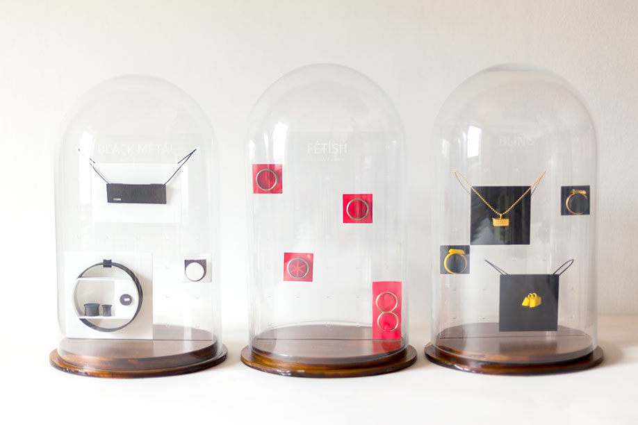 Jewelry displays for all Sushi & Cement collections