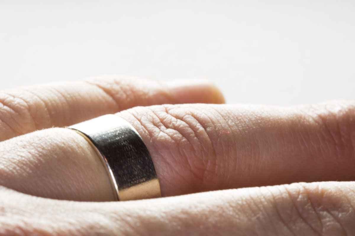 The Basic Flat Ring, 3D printed in silver.