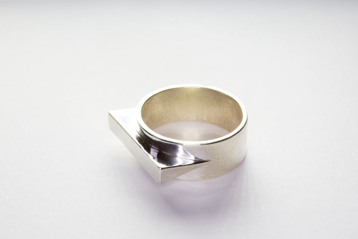 The JetSet Triangle ring, 3D printed in silver.